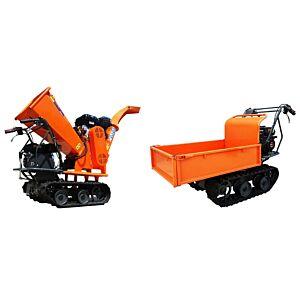 Gardentec GS 120 15hk/6,5hk 2/1 flishugger med belter er også dumper